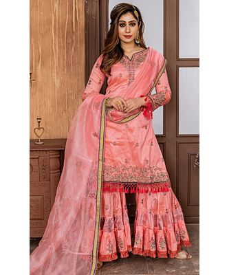 Pink Embroidered Organza Semi Stitched Salwar With Dupatta