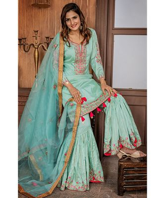 green embroidered organza semi stitched salwar with dupatta
