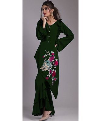 All Season Designer Dark Green Diamond Heavy Georgette Fancy Kurti