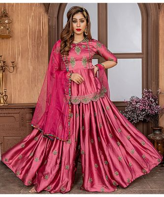pink embroidered satin semi stitched salwar with dupatta