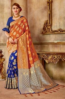 Orange woven banarasi saree with blouse