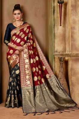 Red woven banarasi saree with blouse