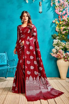 Red woven banarasi saree with blouse