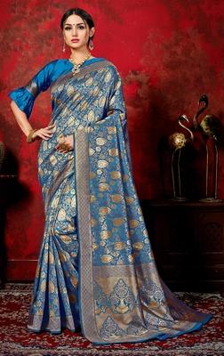 turquoise woven banarasi saree with blouse