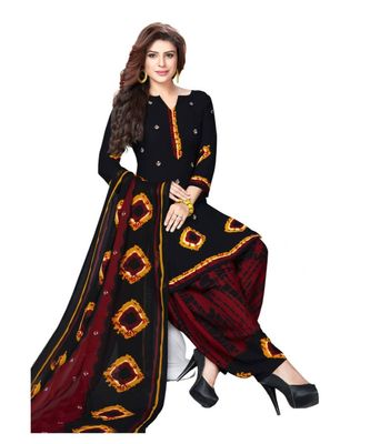 Black Batik Synthetic Unstitched Salwar With Dupatta