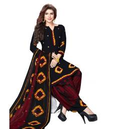 black batik synthetic unstitched salwar with dupatta