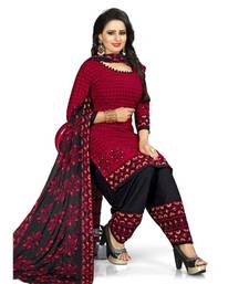 Maroon Abstract Print Crepe Unstitched Salwar With Dupatta