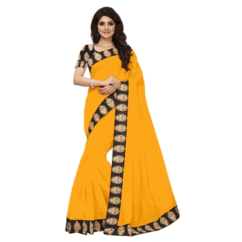 yellow plain Chanderi Cotton Kalamkari  saree with blouse