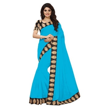 Turquoise plain Chanderi Cotton Kalamkari  saree with blouse