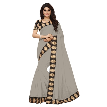 Grey plain Chanderi Cotton Kalamkari  saree with blouse