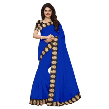 blue plain Chanderi Cotton Kalamkari  saree with blouse