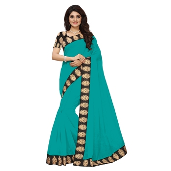 sea green plain Chanderi Cotton Kalamkari  saree with blouse