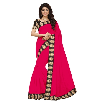 peach plain Chanderi Cotton Kalamkari  saree with blouse
