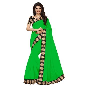 green plain Chanderi Cotton Kalamkari  saree with blouse