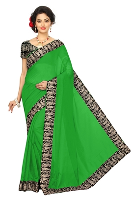 green plain Chanderi Cotton Kalamkari  saree with blouse