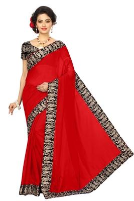 red plain Chanderi Cotton Kalamkari  saree with blouse