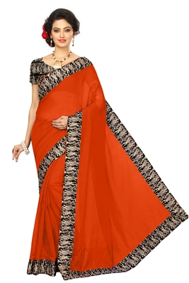 red plain Chanderi Cotton Kalamkari  saree with blouse