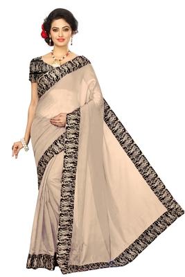Beige plain Chanderi Cotton Kalamkari  saree with blouse