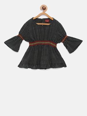 Black printed rayon kids-tops