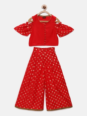 Red printed polyester kids-tops