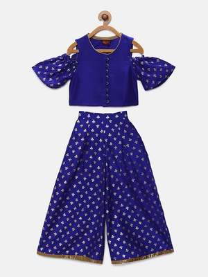 Blue printed polyester kids-tops