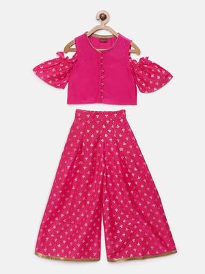 Pink printed polyester kids-tops