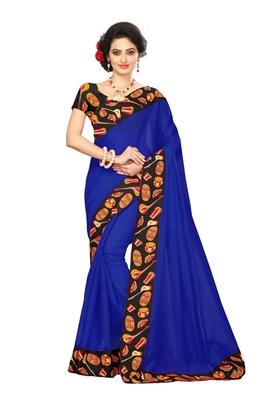 blue plain Chanderi Cotton Kalamkari  saree with blouse