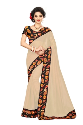 cream plain Chanderi Cotton Kalamkari  saree with blouse