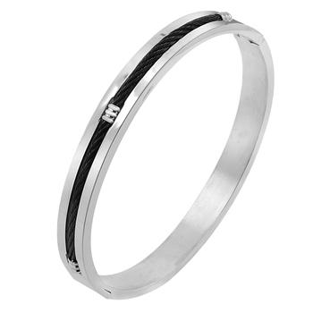 Center Rope Black Rhodium 316L Surgical Stainless Steel Openable Kada Bangle Bracelet Men