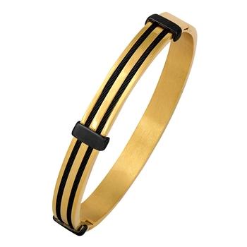 Stylish Open Border 18K Gold Black Rhodium 316L Surgical Stainless Steel Gold Black Openable Kada Bangle Bracelet Men