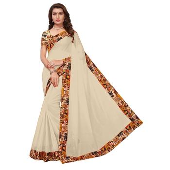 cream plain Chanderi Cotton Kalamkari  saree with blouse