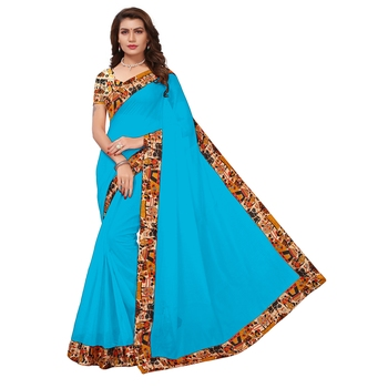 Turquoise plain Chanderi Cotton Kalamkari  saree with blouse