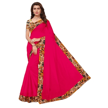 pink plain Chanderi Cotton Kalamkari  saree with blouse