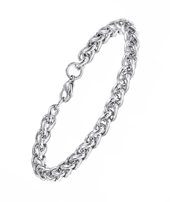 Stylish Wheat Silver Rhodium 316L Surgical Stainless Steel Bracelet Men Women