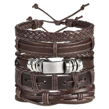 Stylish 100% Genuine Dark Brown Leather Wraps Casual Party Wear Skin Friendly Bracelets Pack of 5 Men Boys