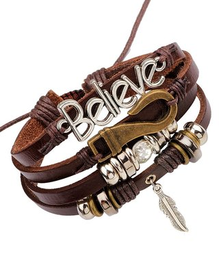 Stylish Believe 100% Genuine Brown Leather Beads Leaf Charm Multi-Strand Unisex Bracelet Men Boys