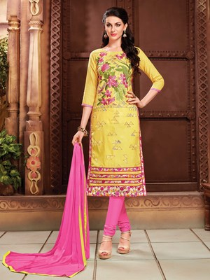 Yellow embroidered faux cotton salwar