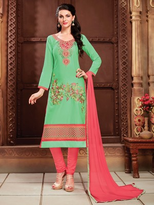Green embroidered faux cotton salwar