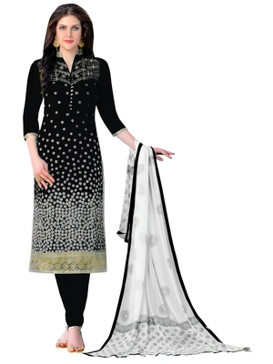 Black embroidered faux cotton salwar