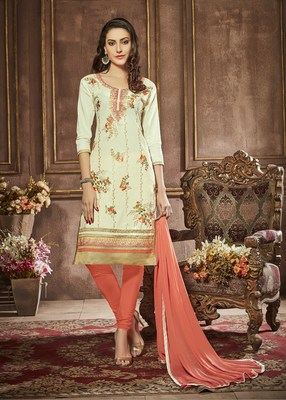 Cream embroidered faux cotton salwar