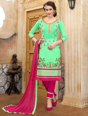 Light-green embroidered faux cotton salwar