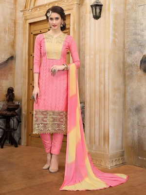 Peach embroidered faux cotton salwar