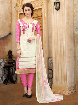White embroidered faux cotton salwar
