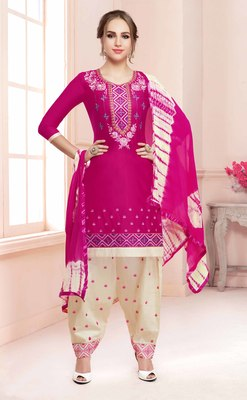 Pink embroidered faux cotton salwar