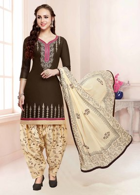 Brown embroidered faux cotton salwar