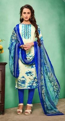 Multicolor printed faux cotton salwar