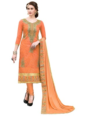Orange Embroidered Faux Cotton Salwar