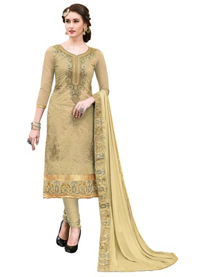 Beige embroidered faux cotton salwar
