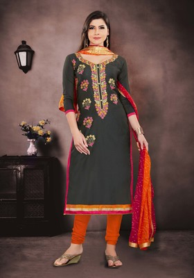 Grey embroidered chanderi salwar