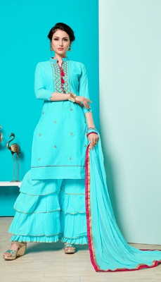 Light-blue embroidered faux cotton salwar